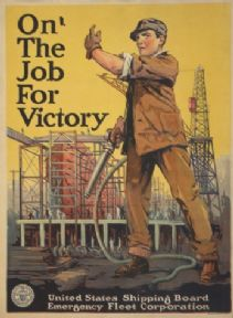 On the job for victory. Vintage American WW1 Poster.